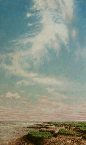 Wierum, wolk boven aangevreten land