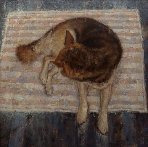 Kathoushja liggend op vliegend tapijt