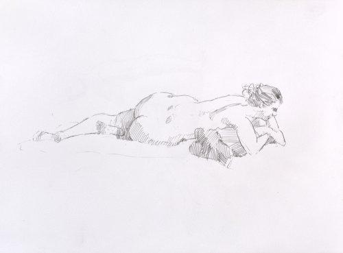Liggend naakt, model tekening [19]