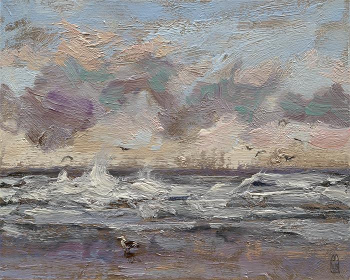 Meeuwen boven zee