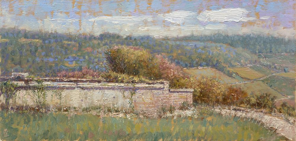 Oud muurtje, Saint Romain, Bourgogne, Frankrijk
