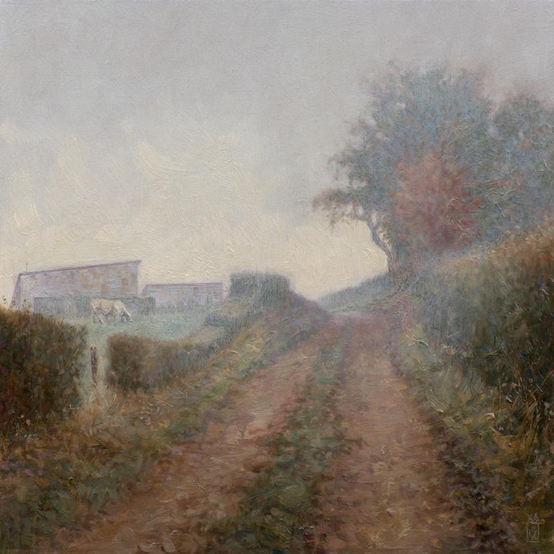 Weggetje in de mist, Bourgogne